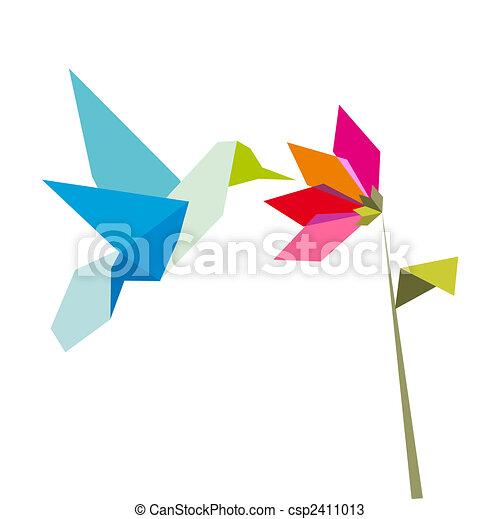 Origami Fleur Blanche Colibri Pastel Fleur Arrière Plan