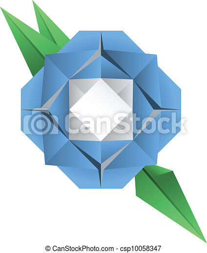 Origami Flower A Vector Illustration Of An Blue