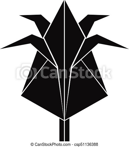 Origami Flower Icon Simple Black Style