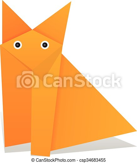 Origami Fox On A White Background