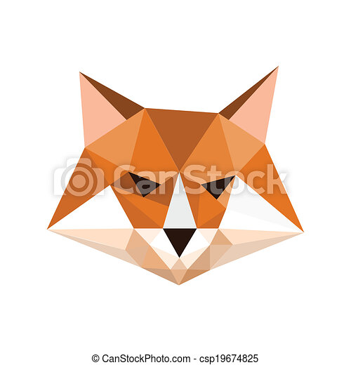 Illustration Of Origami Fox Portrait Symbol