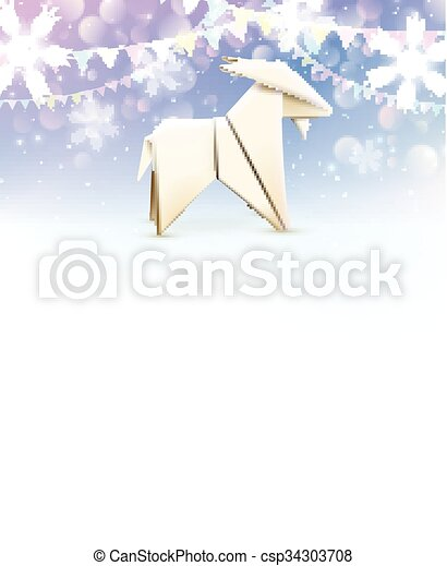 Origami Goat New Year Background Vector Illustration Vector