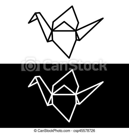 origami, grúa, papel - csp45578726