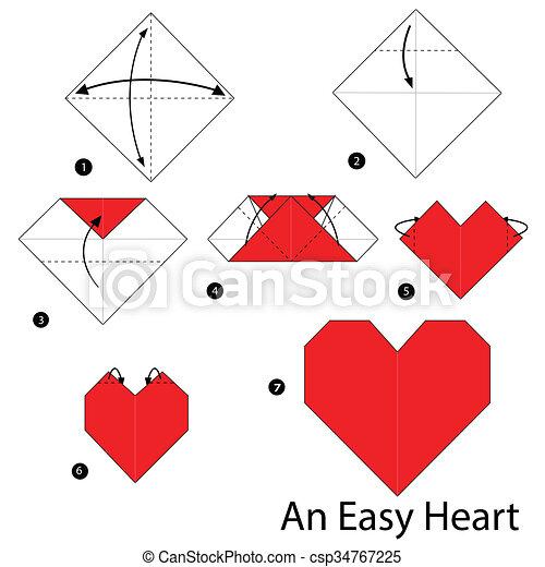 Origami Heart Facile Heart Faire Comment Etape Facile Origami Instructions Canstock