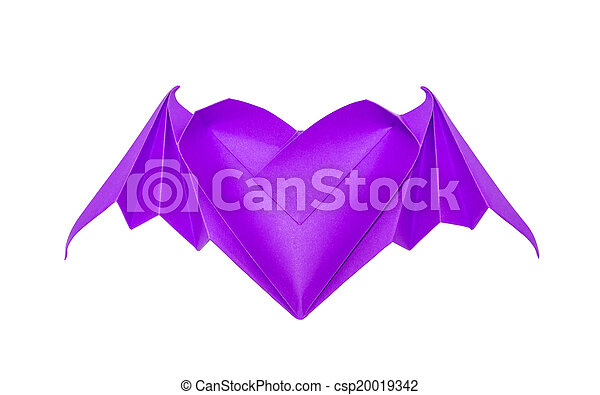 Origami Heart With Bat Wings Isolated On White Background Stock