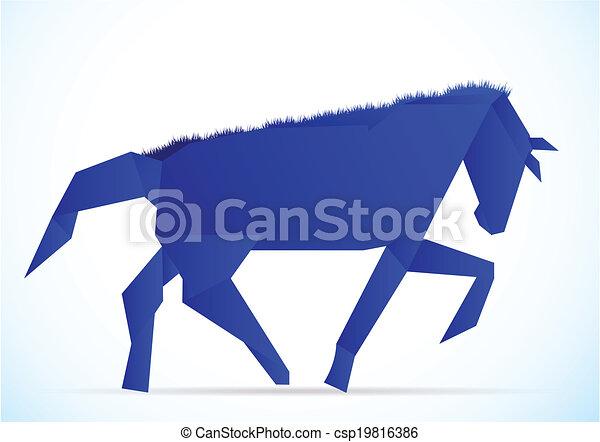 Origami Horse Style Dark Blue Horizontal