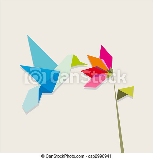 Vibrant Colors Origami Hummingbird Vector Clipartby Cienpies2 1226 And Flower On White