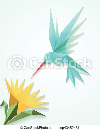 Origami hummingbird with flower. paper 3d humming bird ... - photo#19