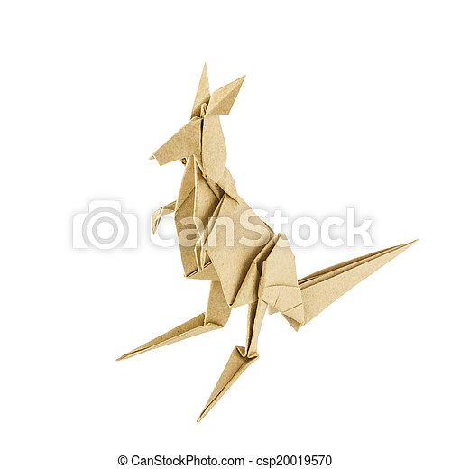 Origami Kangaroo Recycle Paper Isolated On White Background