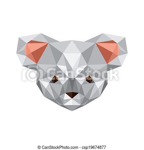 Illustration Of Origami Koala Bear Isolated On White Screen