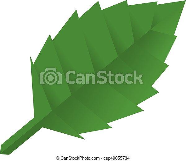 Origami Leaf Icon Cartoon Style