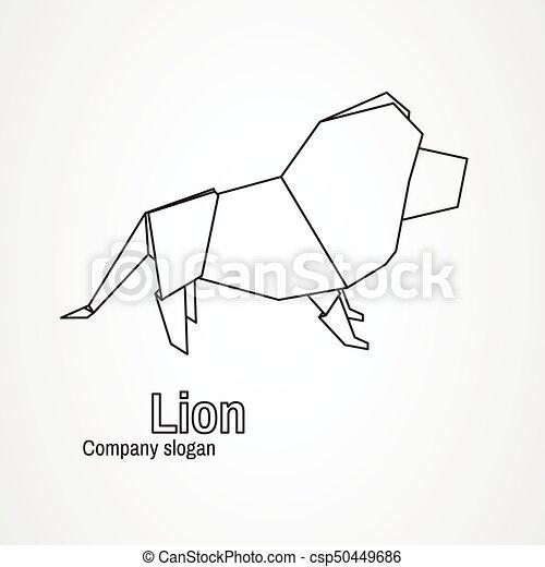 Origami Logo Contour Lion