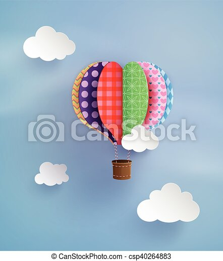 Origami Made Hot Air Balloon And Cloud Origami Made Colorful Hot