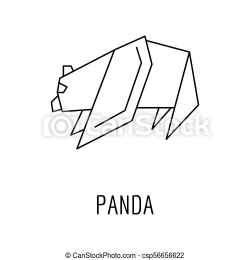 Origami Panda Icon Outline Style Origami Panda Icon Outline Panda