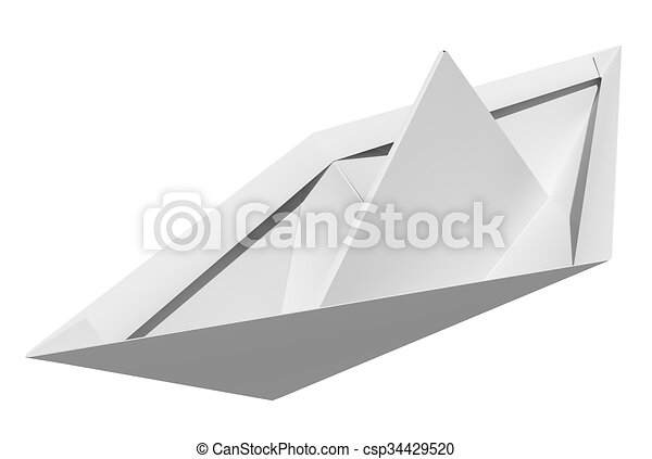 Origami Paper Boat Isolated On White Background Top View