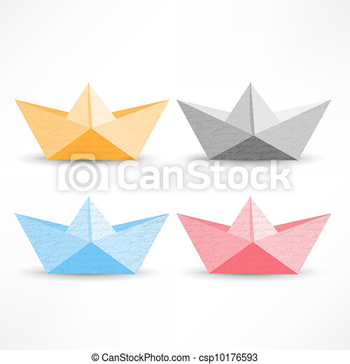 Origami Paper Boat Red Yellow Blue On White