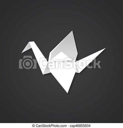 Origami Paper Crane On Dark Background Simple And Stylish Logo Symbol