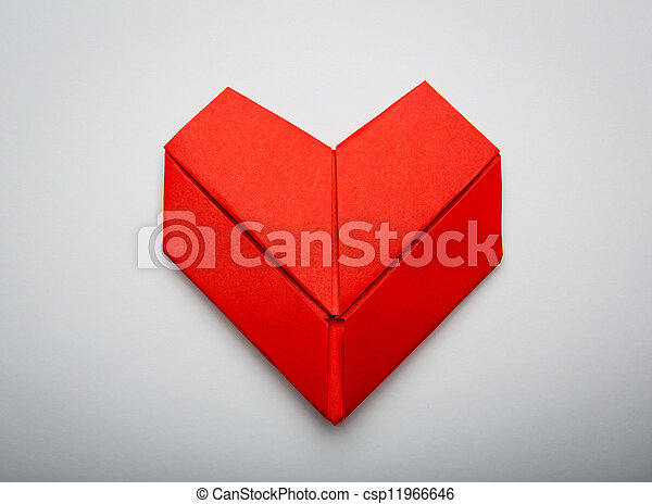 Origami Paper Heart Shape Symbol For Valentines Day With Copy Space