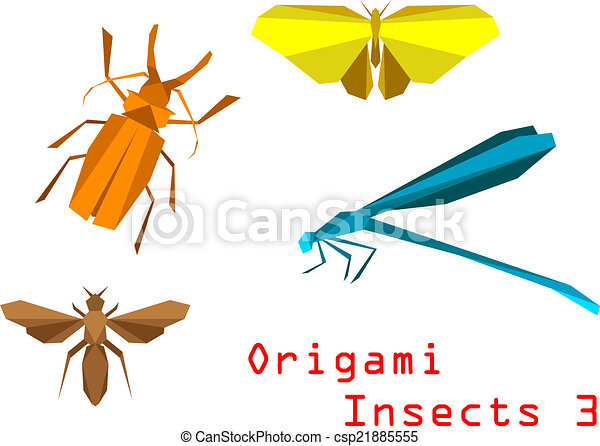 Origami Paper Insects With Beetle Butterfly Bee Dragonfly