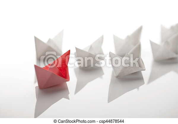 Origami Paper Ship On White Background Stock Photo Search
