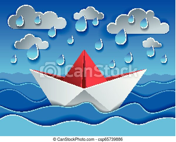 Origami paper ship toy swimming in rain over ocean, curvy waves of the sea  and clouds in the sky, beautiful vector illustration in paper cut style