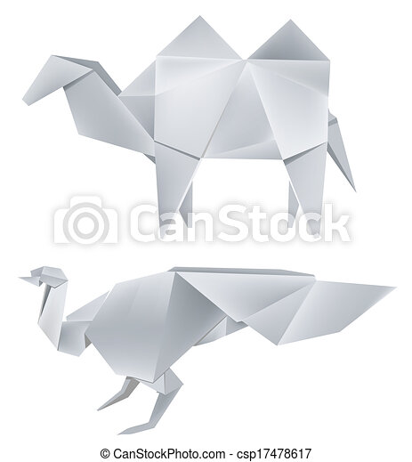 Illustration Of Folded Paper Models The Peacock And Camel Vector