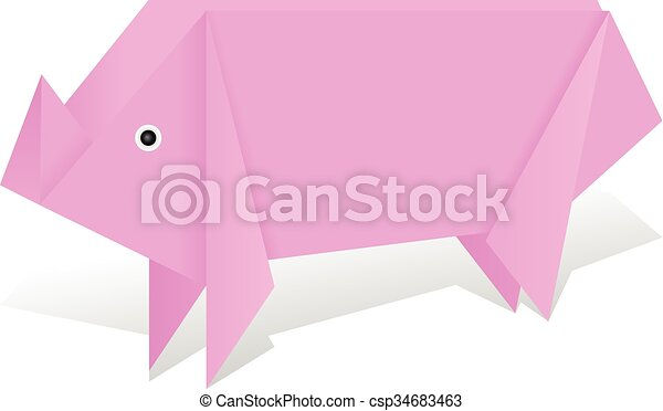 Origami Pig Vector Clipart Eps Images 129 Origami Pig Clip Art