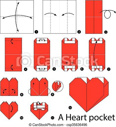 Origami, pocket., corazón. Corazón, marca, pocket., cómo ...