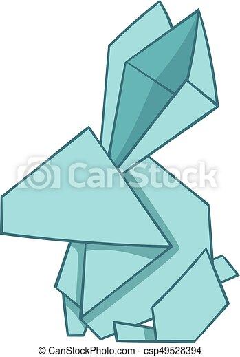 Origami Rabbit Icon Cartoon Style Origami Rabbit Icon Eps