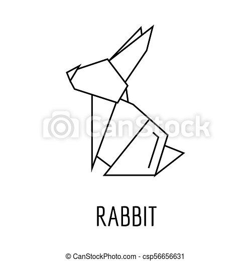 Origami Rabbit Icon Outline Style