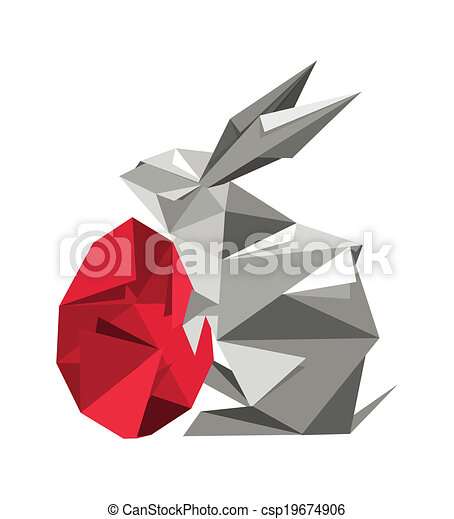 Origami Rabbit With Egg Illustration Of Artistic Origami Vector