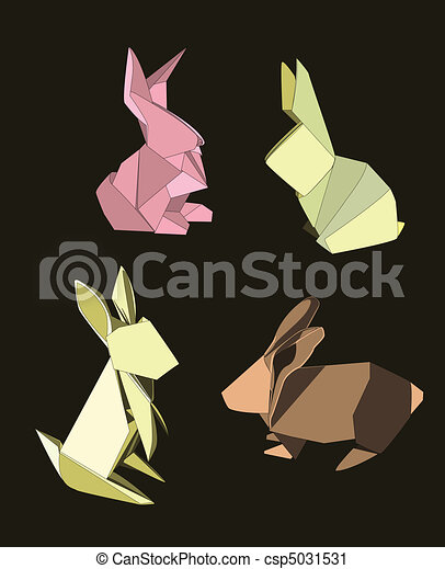 Origami Rabbits Set Of Four In Different Poses