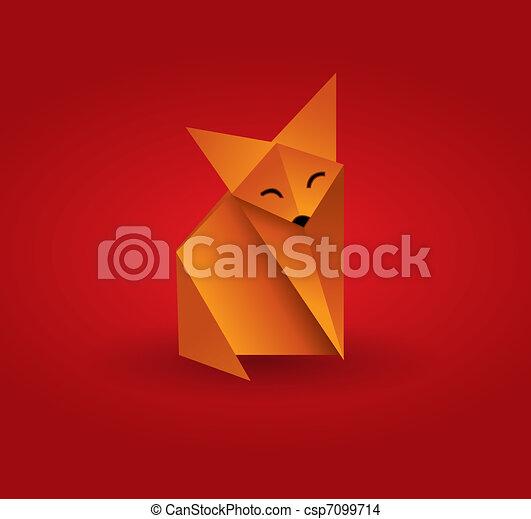 origami, raposa - csp7099714