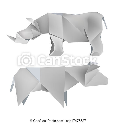 Origami Rhino Cow Illustration Of Folded Paper Models The Rhino And