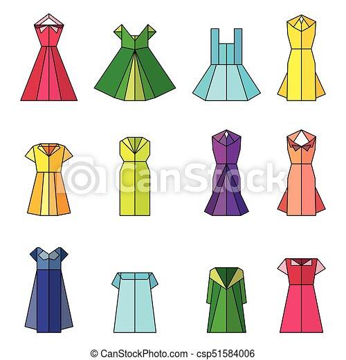 Origami, robe, femmes. Plat, femme, illustration., objets, robe, collection., set., isolé ...