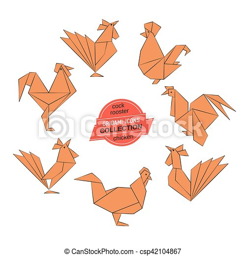 Origami Roosters Collection Cartoon Cock Icon Set Abstract Rooster