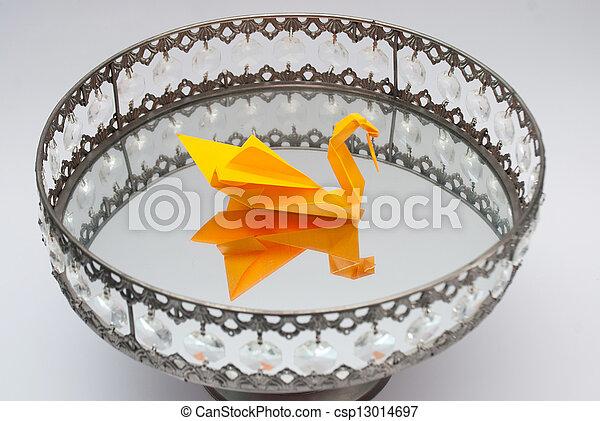 origami, schwan, platte, spiegel - csp13014697