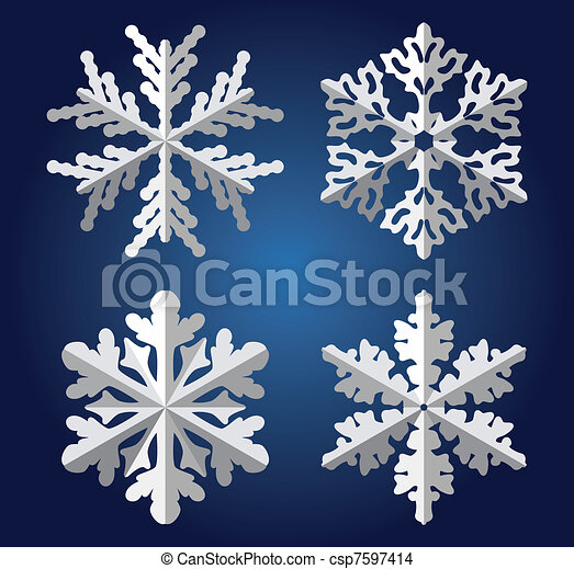 Vector Origami Snowflakes