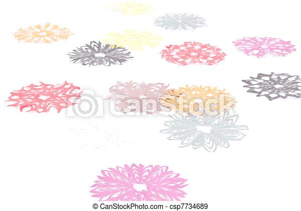 Origami Snowflakes On The White Background