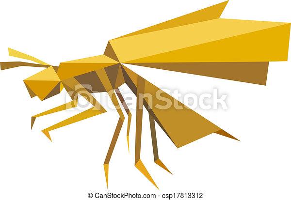 Origami Stil Fliegenden Insekt Biene Gelassen Brauner Stil