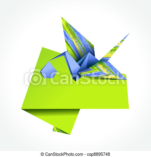 Origami stork delivering boy - csp8895748