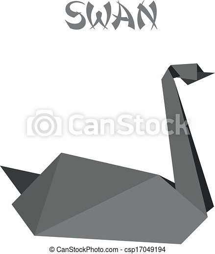 Geometric Shape Illustration Of A Black Origami Swan