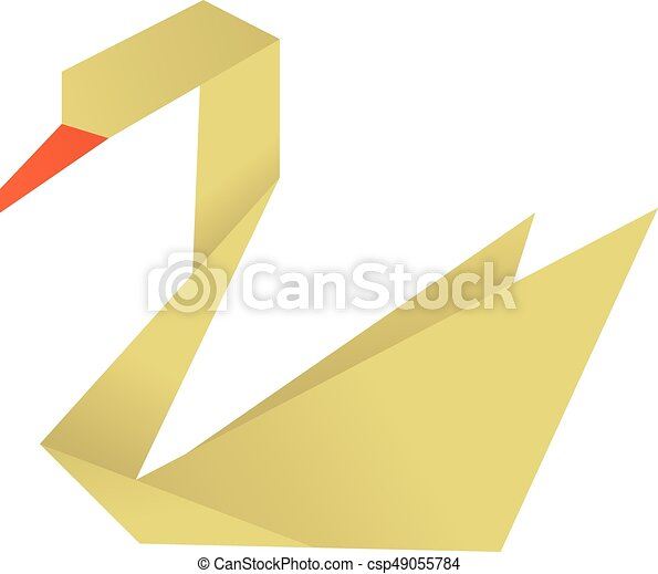 Origami Swan Icon Cartoon Style