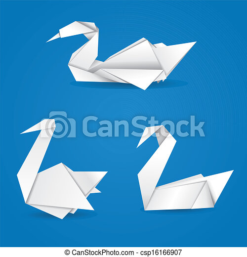 Origami Swans White Folded Paper Swans On Blue Background