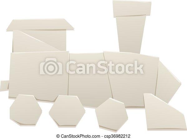 Origami Train Vector Illustration