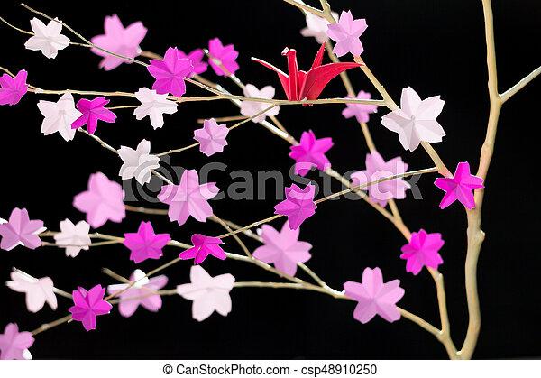 Origami Tsuru Sitting In A Cherry Blossom Tree