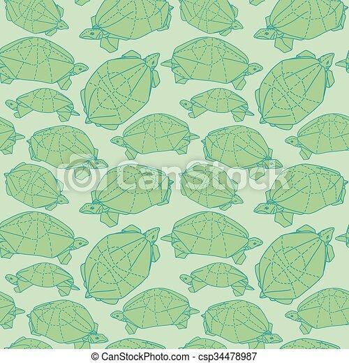 Origami Turtles Drawing Illustration. Wallpaper Seamless Pattern.