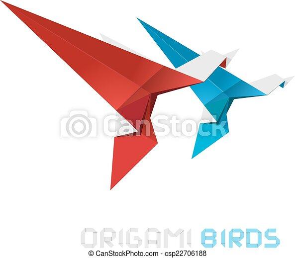 Las aves origami vector de ilustración. - csp22706188