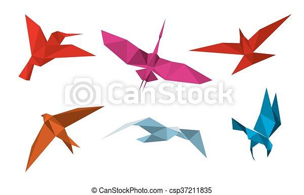 Pájaros de origami vector - csp37211835