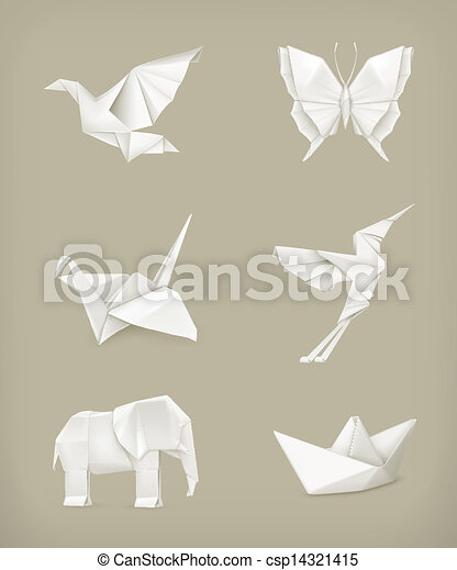 Origami Vector Set White Vector Clip Art Search Illustration